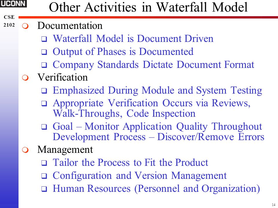 14 CSE 2102 CSE 2102 Other Activities in Waterfall Model  Documentation  Waterfall Model is Document Driven  Output of Phases is Documented  Compa