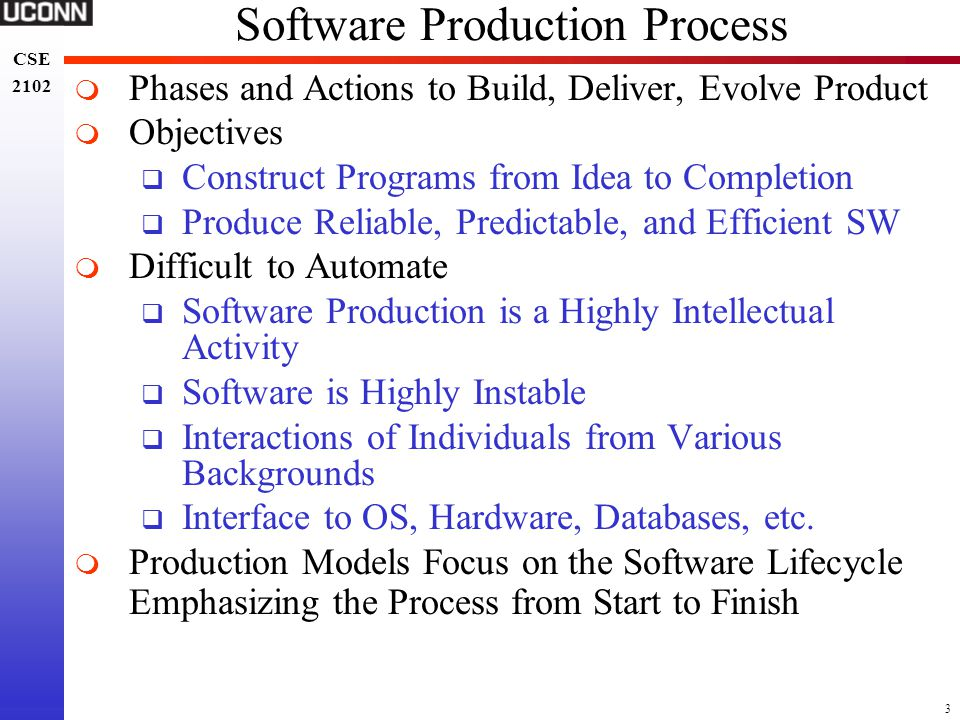 14 CSE 2102 CSE 2102 Other Activities in Waterfall Model  Documentation  Waterfall Model is Document Driven  Output of Phases is Documented  Company Standards Dictate Document Format  Verification  Emphasized During Module and System Testing  Appropriate Verification Occurs via Reviews, Walk-Throughs, Code Inspection  Goal – Monitor Application Quality Throughout Development Process – Discover/Remove Errors  Management  Tailor the Process to Fit the Product  Configuration and Version Management  Human Resources (Personnel and Organization)