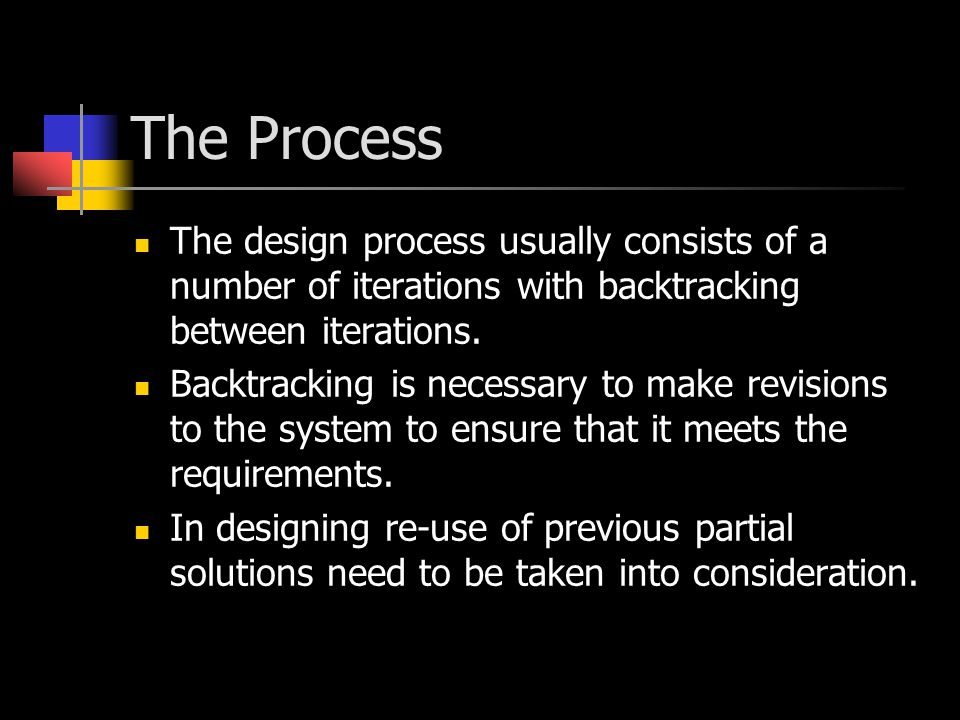 The Process On each iteration of the design process the designer must consider the impact of decisions made in the iteration on future iterations.