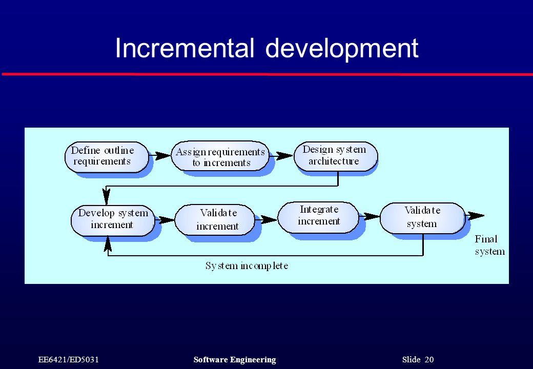 EE6421/ED5031Software Engineering Slide 20 Incremental development