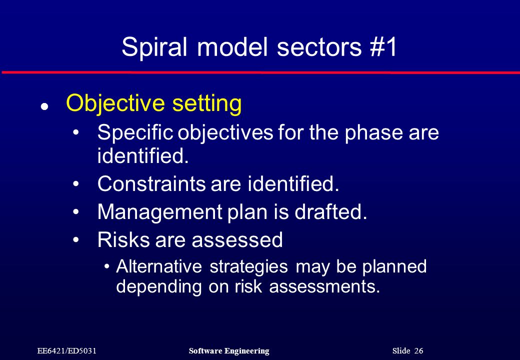 EE6421/ED5031Software Engineering Slide 26 Spiral model sectors #1 l Objective setting Specific objectives for the phase are identified.