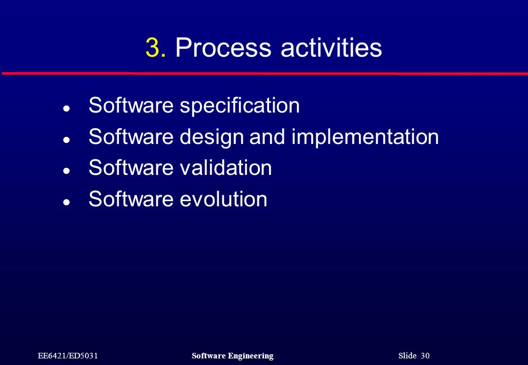 EE6421/ED5031Software Engineering Slide 30 3. Process activities l Software specification l Software design and implementation l Software validation l