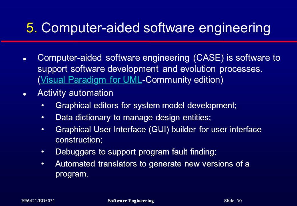 EE6421/ED5031Software Engineering Slide 50 5.
