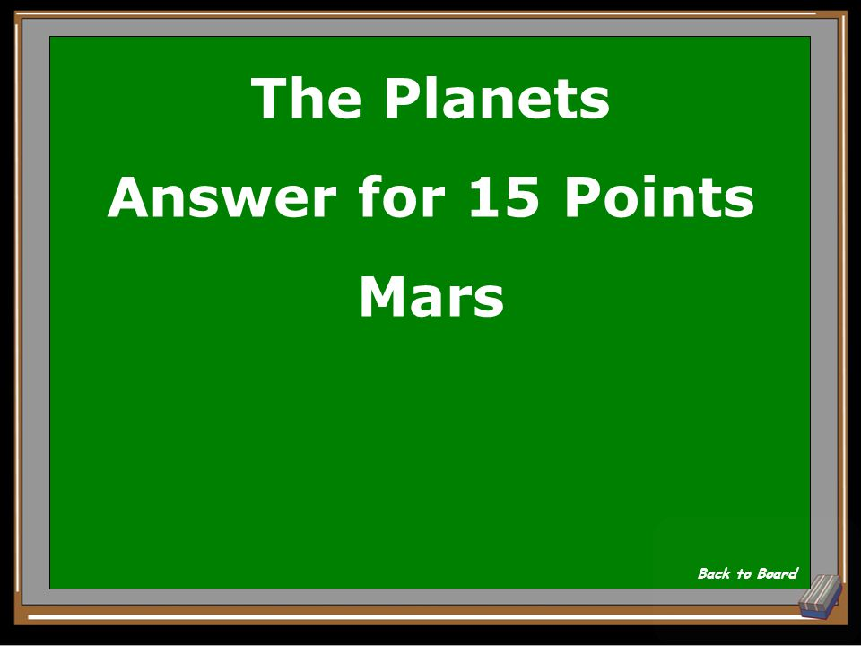 The Planets Question for 15 Points Which planet is home to the Olympus Mons, the largest volcano found in the solar system.