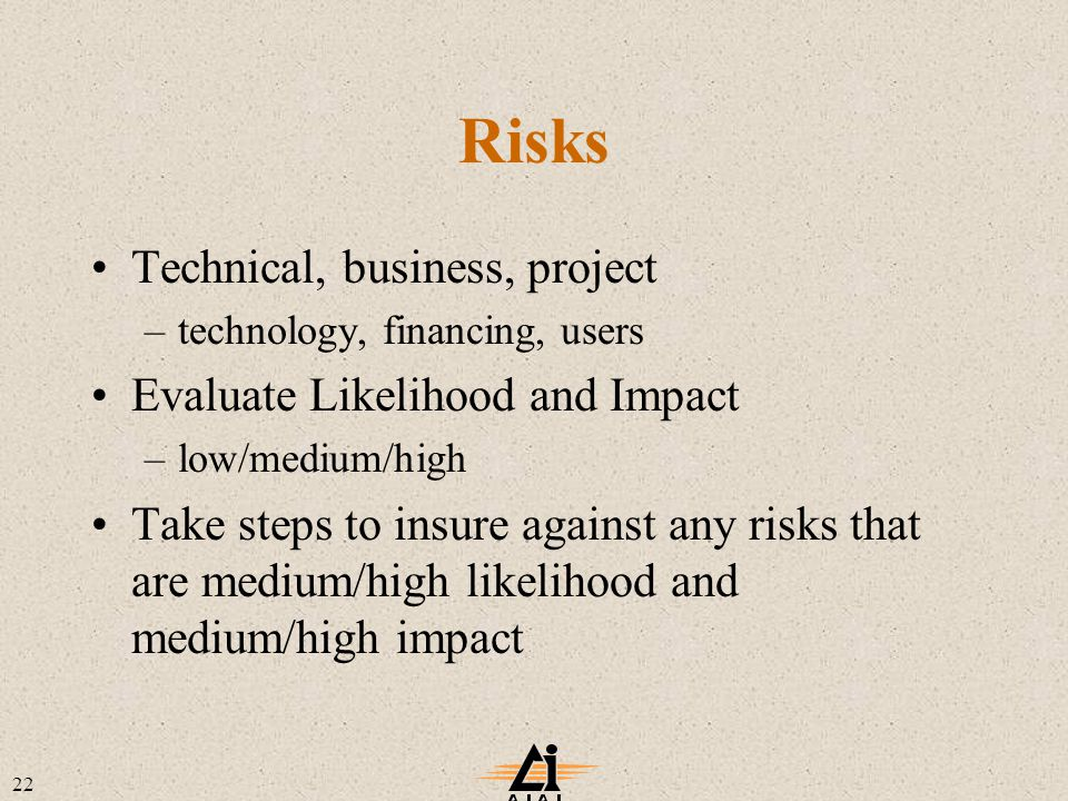 22 Risks Technical, business, project –technology, financing, users Evaluate Likelihood and Impact –low/medium/high Take steps to insure against any risks that are medium/high likelihood and medium/high impact