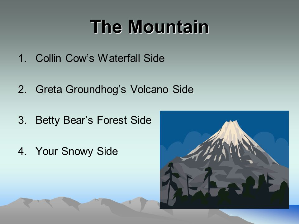 The Mountain 1.Collin Cow's Waterfall Side 2.Greta Groundhog's Volcano Side 3.Betty Bear's Forest Side 4.Your Snowy Side