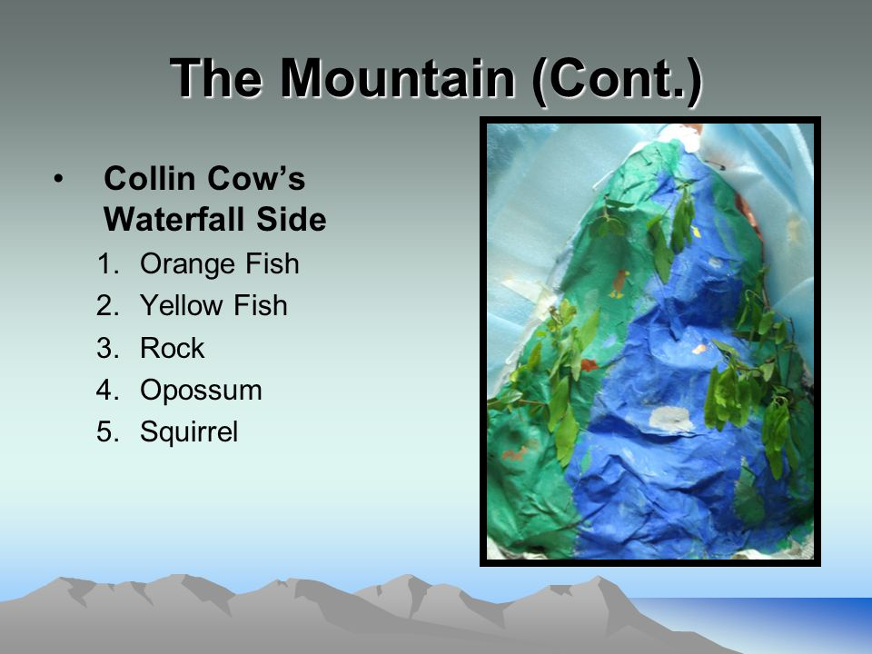 The Mountain (Cont.) Collin Cow's Waterfall Side 1.Orange Fish 2.Yellow Fish 3.Rock 4.Opossum 5.Squirrel