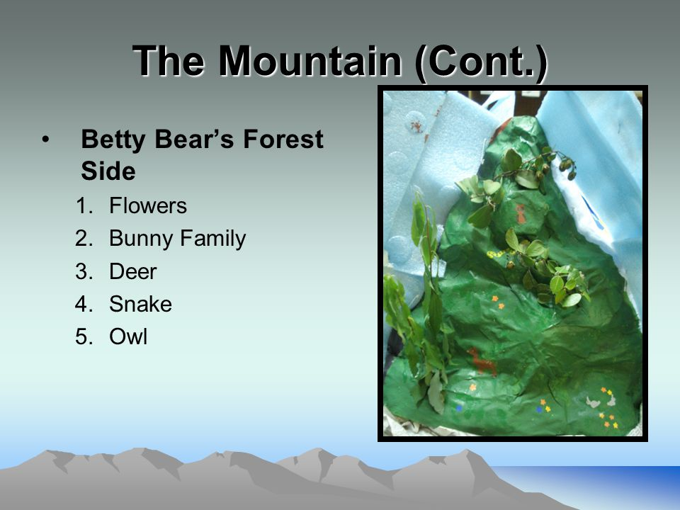 The Mountain (Cont.) Betty Bear's Forest Side 1.Flowers 2.Bunny Family 3.Deer 4.Snake 5.Owl