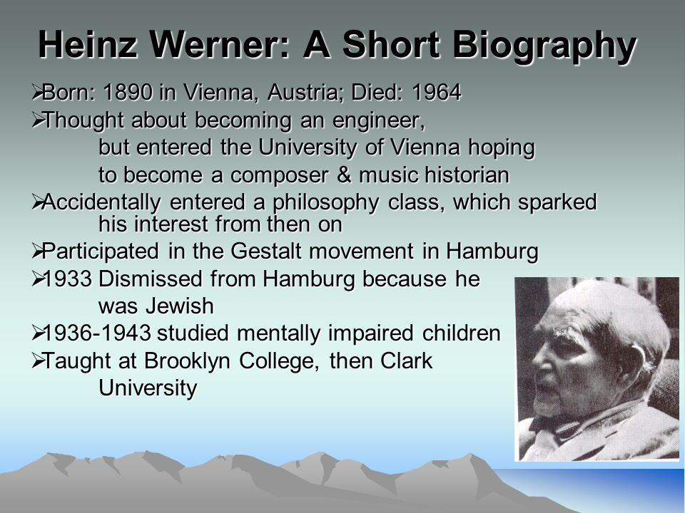Werner Vocabulary Orthogenic Principle: The developmental process of a child goes from a relative lack of differentiation to an increased state of differentiation.