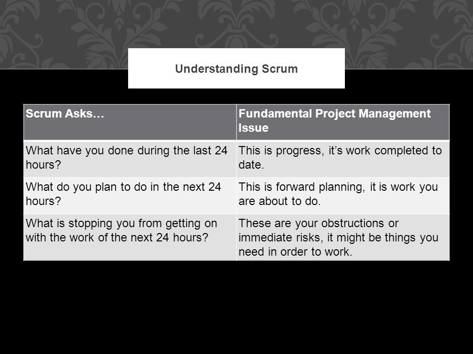 Scrum Asks…Fundamental Project Management Issue What have you done during the last 24 hours.