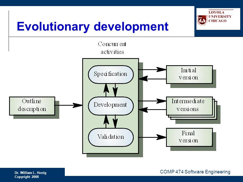 Dr. William L. Honig Copyright 2008 COMP 474 Software Engineering Evolutionary development