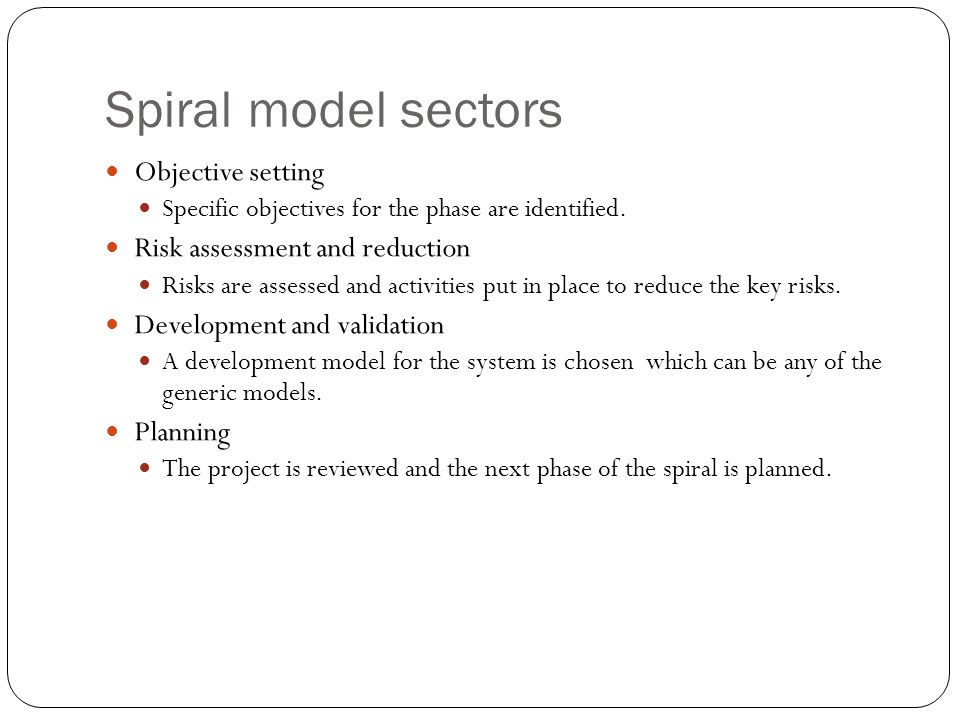 Spiral model sectors Objective setting Specific objectives for the phase are identified.