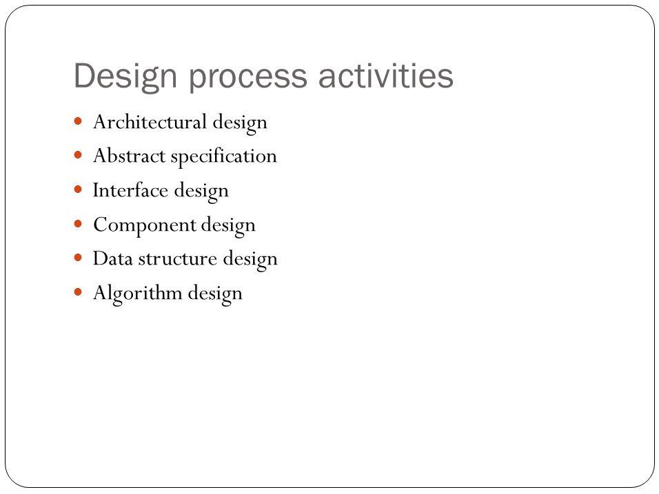 Design process activities Architectural design Abstract specification Interface design Component design Data structure design Algorithm design