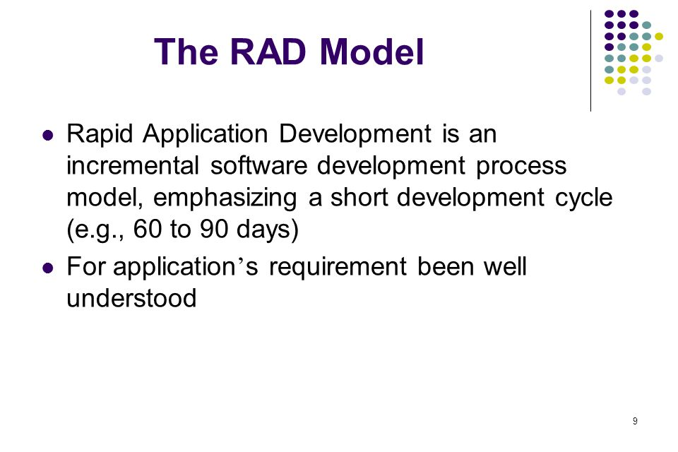 20 Still Other Process Models (cont.) Formal methods model The process to apply when a mathematical specification is to be developed Ambiguity, incompleteness, and inconsistency can be discovered and corrected more easily – promise of defect-free software Drawbacks Time-consuming and expensive Need extensive training Hard to serve as a communication mechanism Useful for safety-critical software, e.g., Aircraft avionics, medical devices