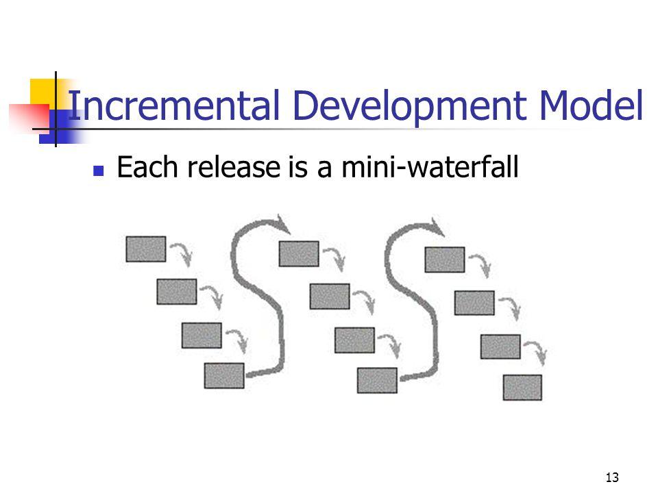13 Incremental Development Model Each release is a mini-waterfall