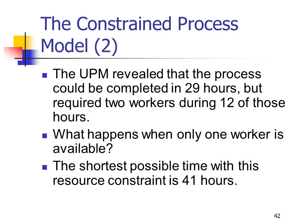 42 The Constrained Process Model (2) The UPM revealed that the process could be completed in 29 hours, but required two workers during 12 of those hours.