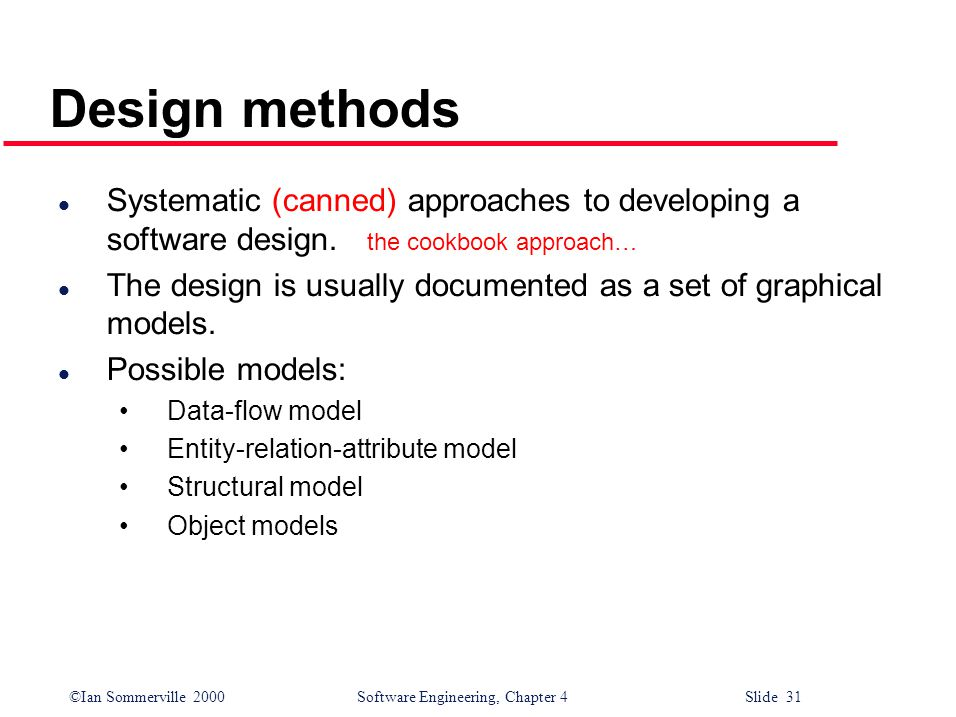 ©Ian Sommerville 2000 Software Engineering, Chapter 4 Slide 31 Design methods l Systematic (canned) approaches to developing a software design.
