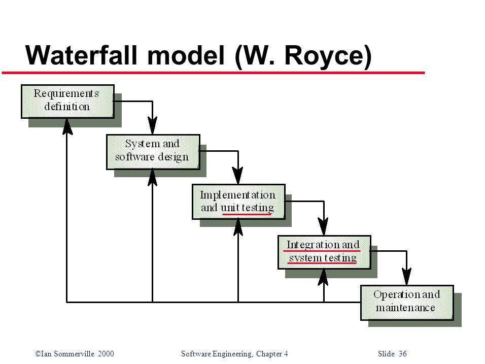 ©Ian Sommerville 2000 Software Engineering, Chapter 4 Slide 36 Waterfall model (W. Royce)