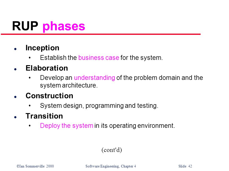 ©Ian Sommerville 2000 Software Engineering, Chapter 4 Slide 42 RUP phases l Inception Establish the business case for the system.