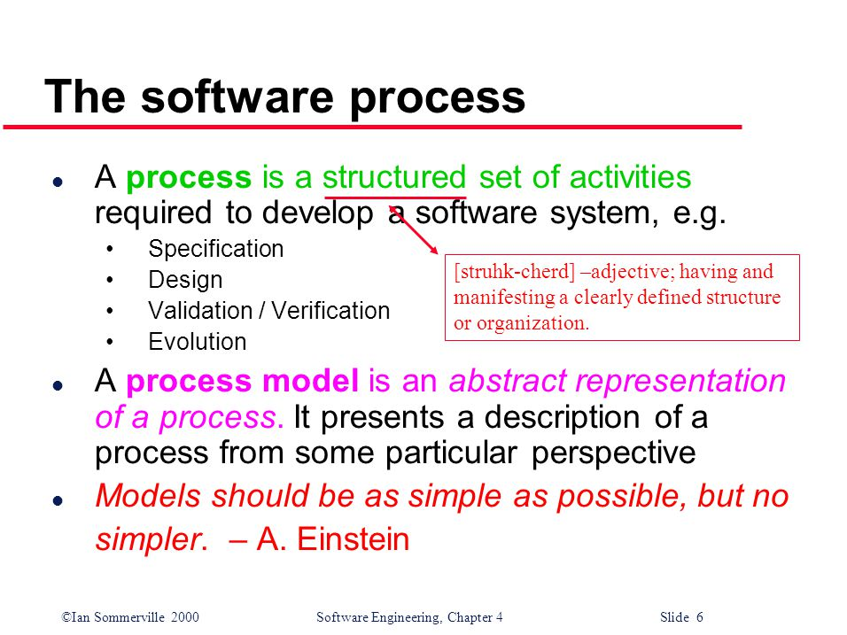 ©Ian Sommerville 2000 Software Engineering, Chapter 4 Slide 6 The software process l A process is a structured set of activities required to develop a software system, e.g.