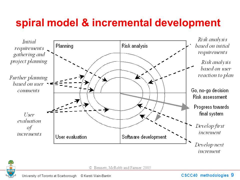 University of Toronto at Scarborough © Kersti Wain-Bantin CSCC40 methodologies 9 © Bennett, McRobb and Farmer 2005 spiral model & incremental development