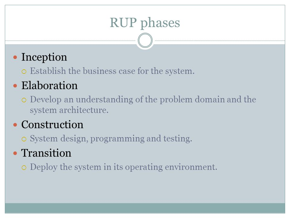 RUP phases Inception  Establish the business case for the system.