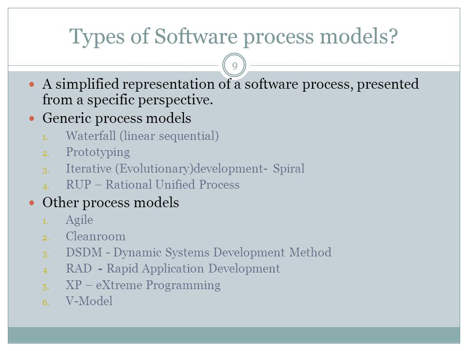 Types of Software process models.