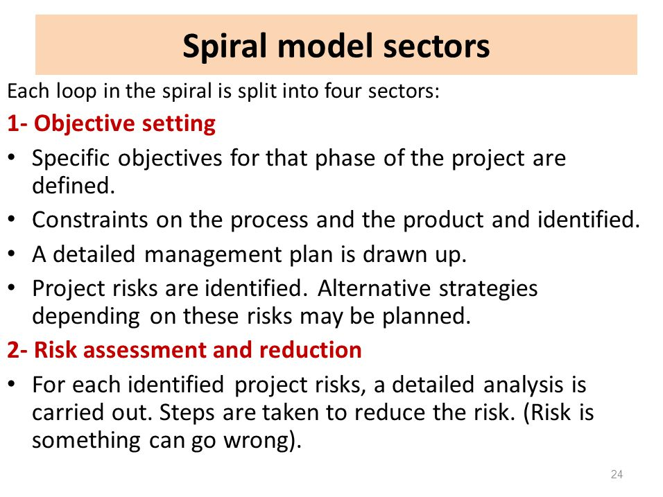 Spiral model sectors Each loop in the spiral is split into four sectors: 1- Objective setting Specific objectives for that phase of the project are de