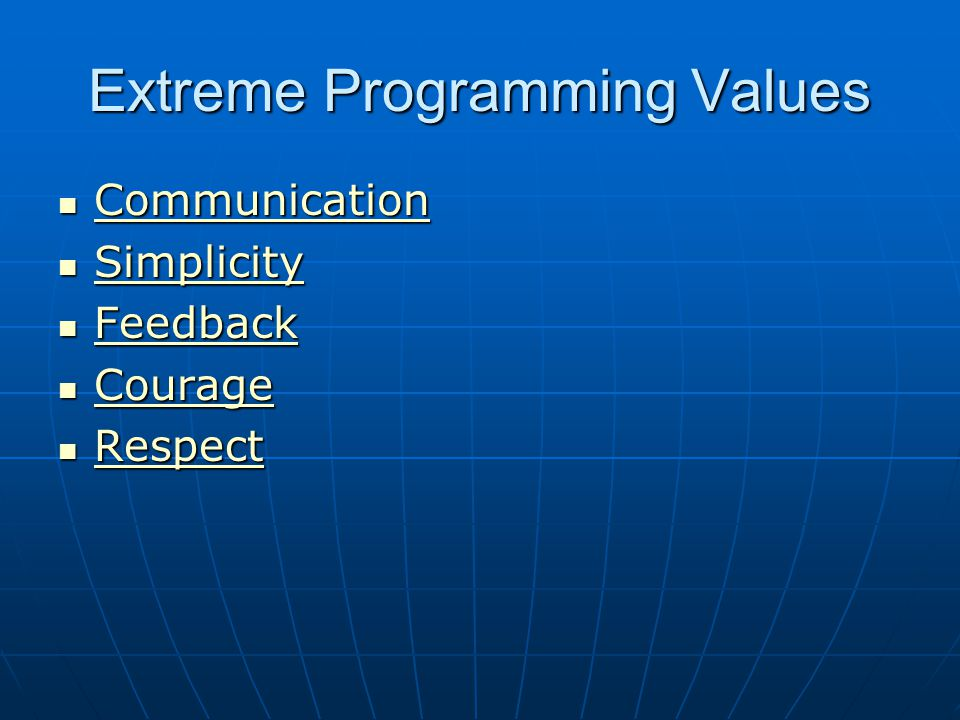 Extreme Programming – The Core Idea prescribing a set of daily stakeholder practices that embody and encourage particular XP values. prescribing a set