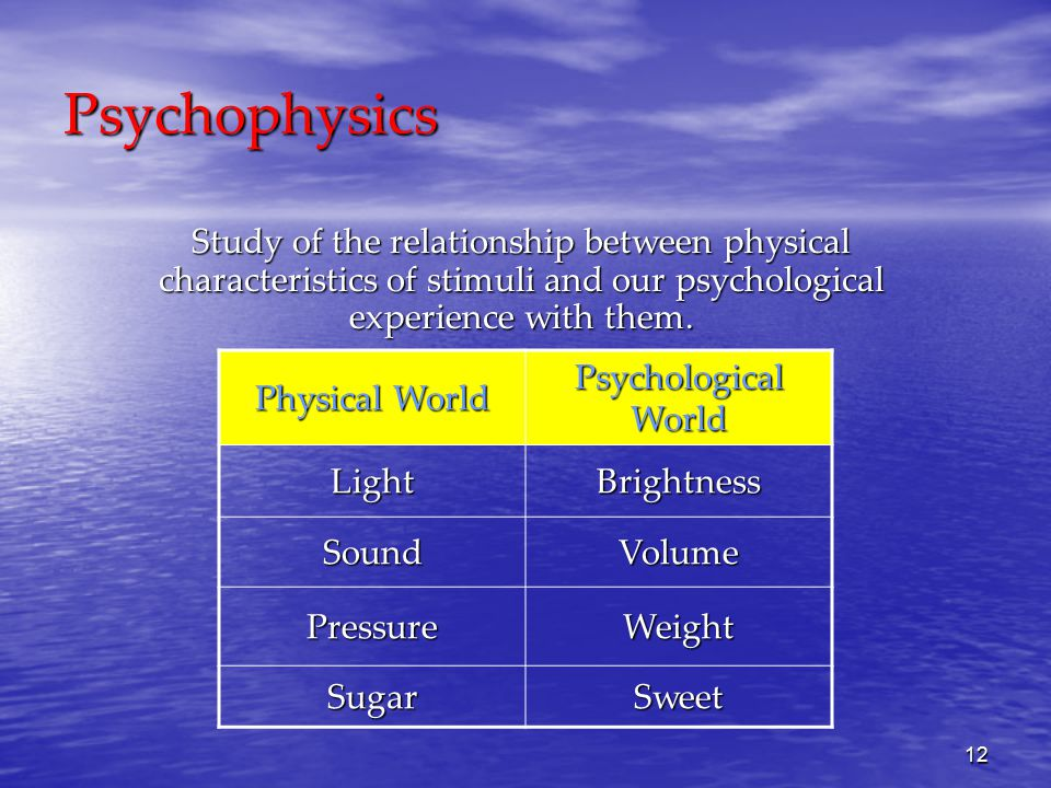 12 Psychophysics Study of the relationship between physical characteristics of stimuli and our psychological experience with them.