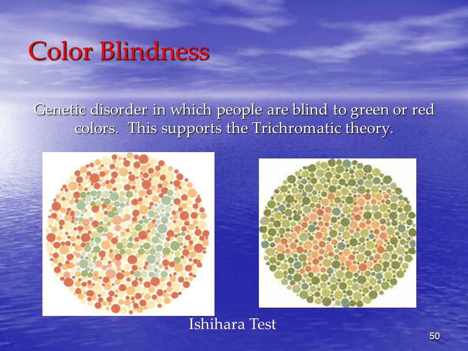 50 Color Blindness Ishihara Test Genetic disorder in which people are blind to green or red colors.