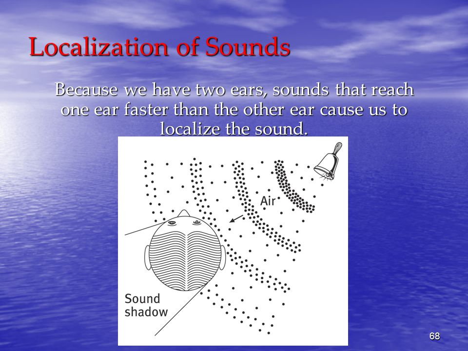 68 Localization of Sounds Because we have two ears, sounds that reach one ear faster than the other ear cause us to localize the sound.