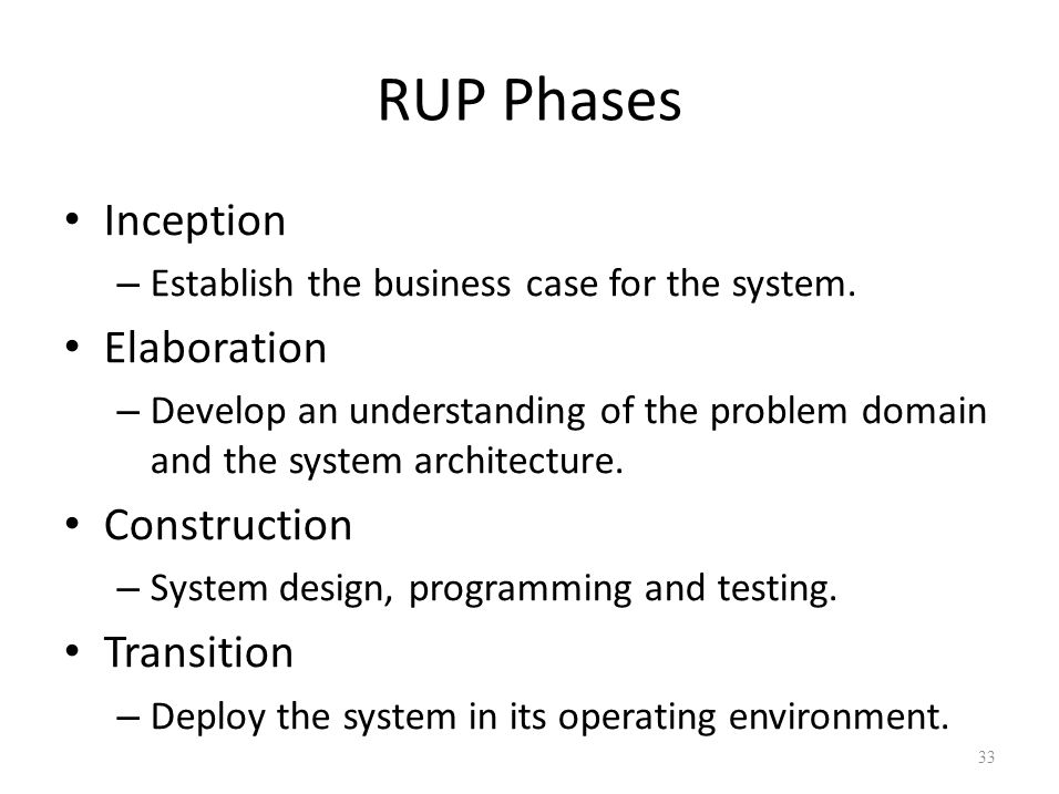 RUP Phases Inception – Establish the business case for the system. Elaboration – Develop an understanding of the problem domain and the system archite