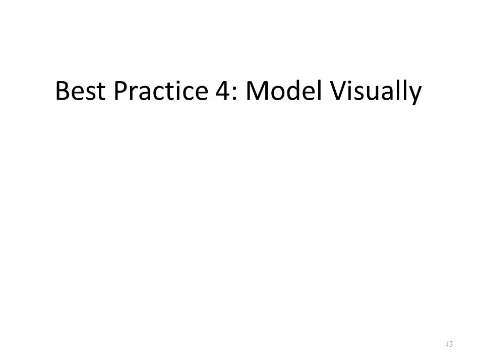 Best Practice 4: Model Visually 43