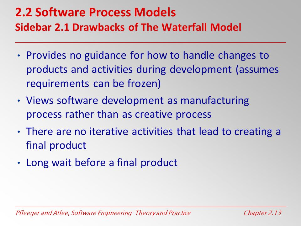 Pfleeger and Atlee, Software Engineering: Theory and PracticeChapter 2.13 2.2 Software Process Models Sidebar 2.1 Drawbacks of The Waterfall Model Pro