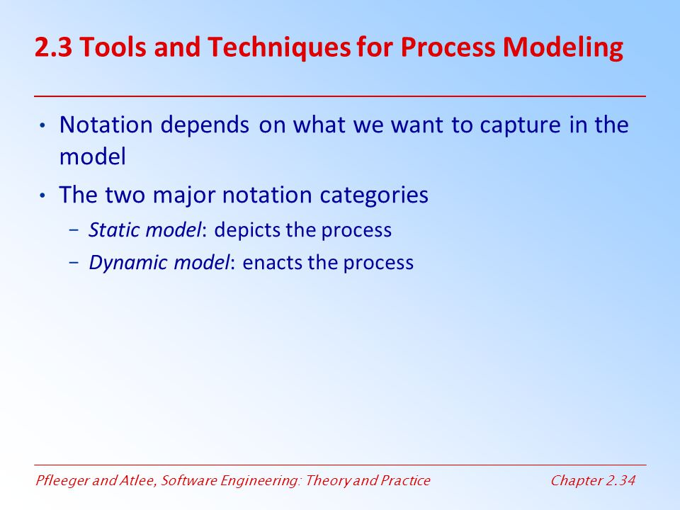 Pfleeger and Atlee, Software Engineering: Theory and PracticeChapter 2.34 Notation depends on what we want to capture in the model The two major notat
