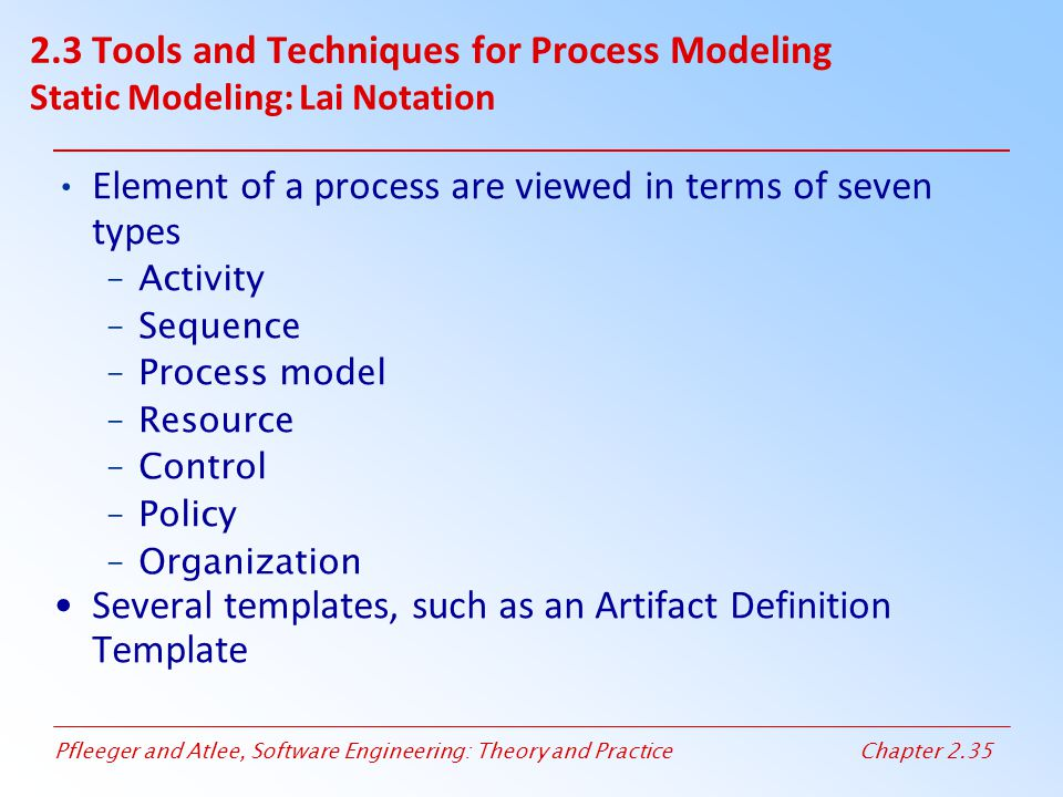 Pfleeger and Atlee, Software Engineering: Theory and PracticeChapter 2.35 Element of a process are viewed in terms of seven types –Activity –Sequence