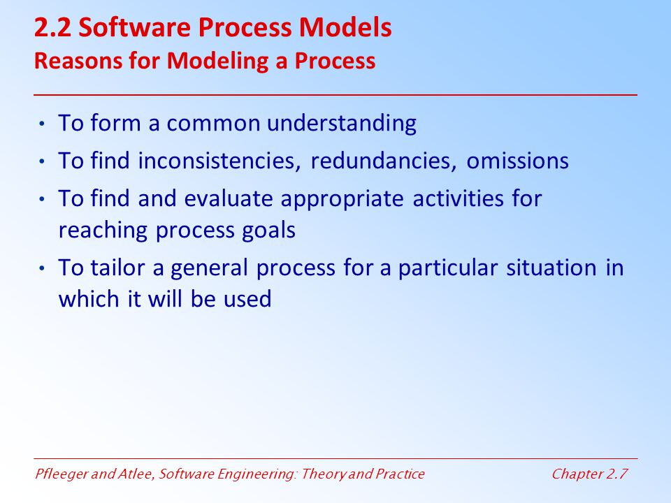 Pfleeger and Atlee, Software Engineering: Theory and PracticeChapter 2.7 2.2 Software Process Models Reasons for Modeling a Process To form a common u