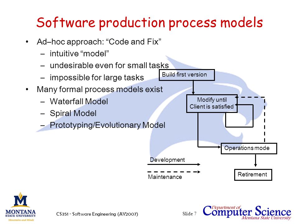CS351 - Software Engineering (AY2007)Slide 7 Software production process models Ad–hoc approach: Code and Fix –intuitive model –undesirable even for small tasks –impossible for large tasks Many formal process models exist –Waterfall Model –Spiral Model –Prototyping/Evolutionary Model Build first version Modify until Client is satisfied Operations mode Retirement Development Maintenance