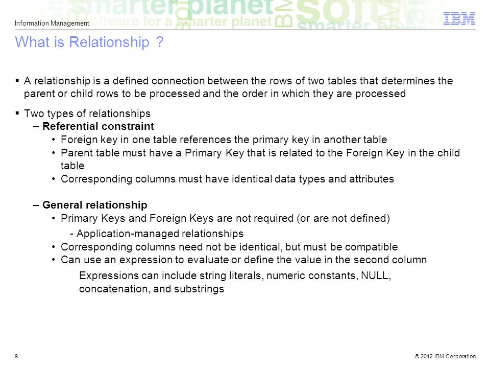 © 2012 IBM Corporation Information Management 9 What is Relationship .