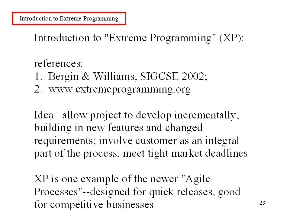 23 Introduction to Extreme Programming