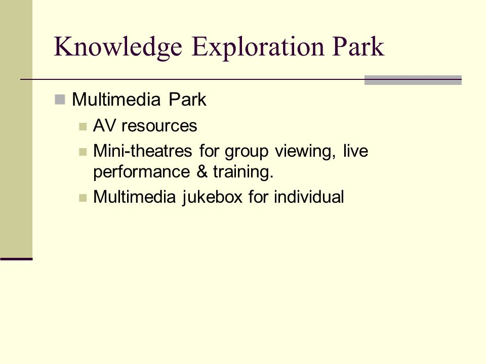 Knowledge Exploration Park Multimedia Park AV resources Mini-theatres for group viewing, live performance & training.