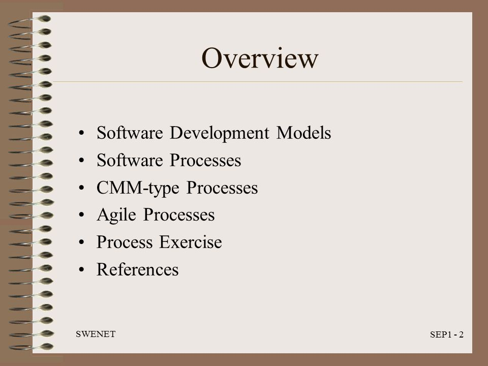 SWENET SEP1 - 2 Overview Software Development Models Software Processes CMM-type Processes Agile Processes Process Exercise References