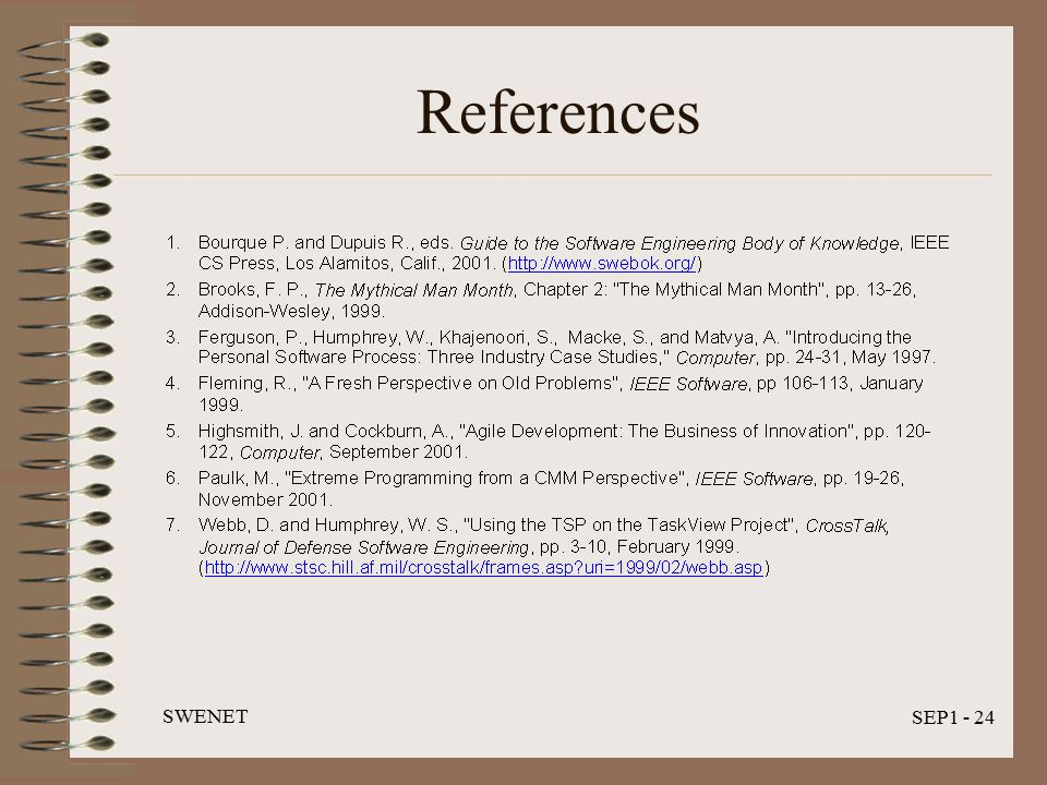 SWENET SEP1 - 24 References