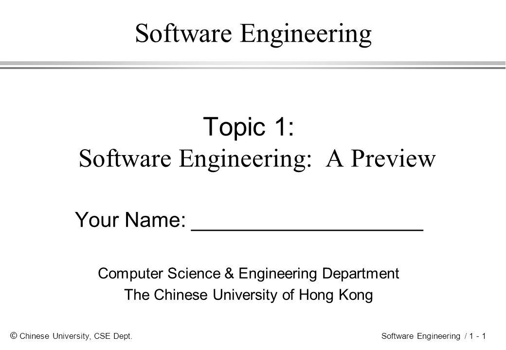 © Chinese University, CSE Dept.