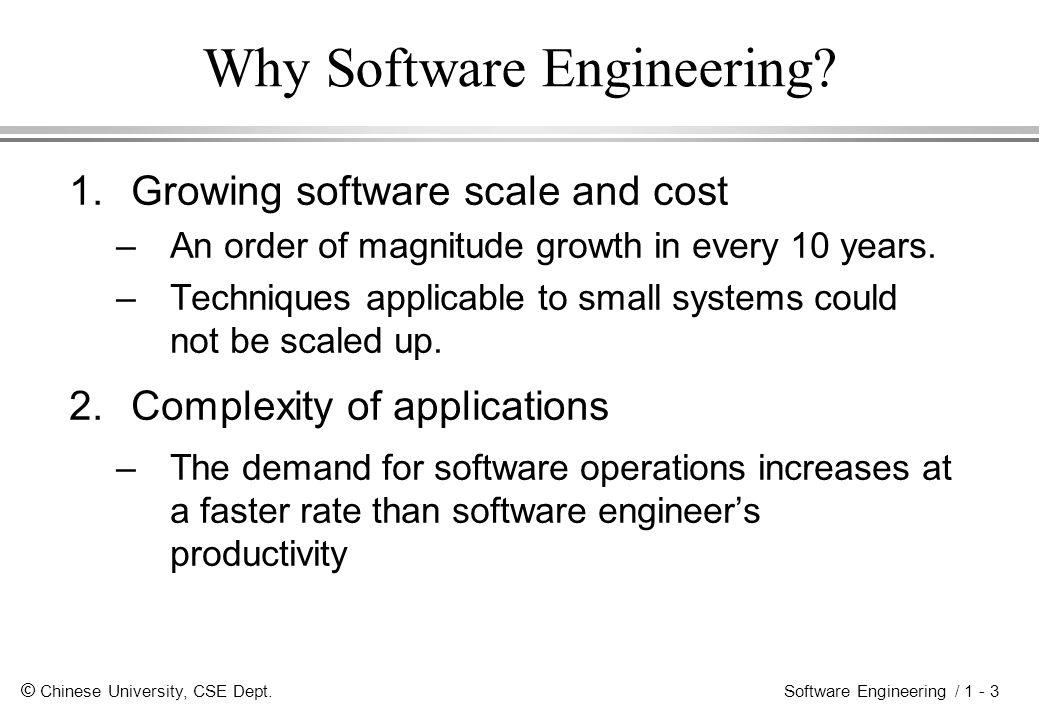 © Chinese University, CSE Dept. Software Engineering / 1 - 3 Why Software Engineering.