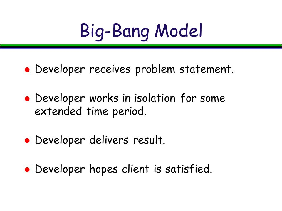 Waterfall Model Requirements Design Implementation Test Each phase pours over into the next phase.