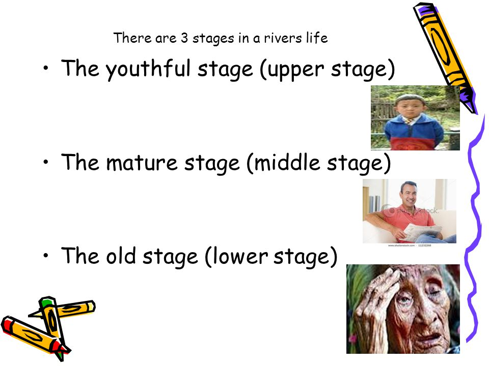 There are 3 stages in a rivers life The youthful stage (upper stage) The mature stage (middle stage) The old stage (lower stage)