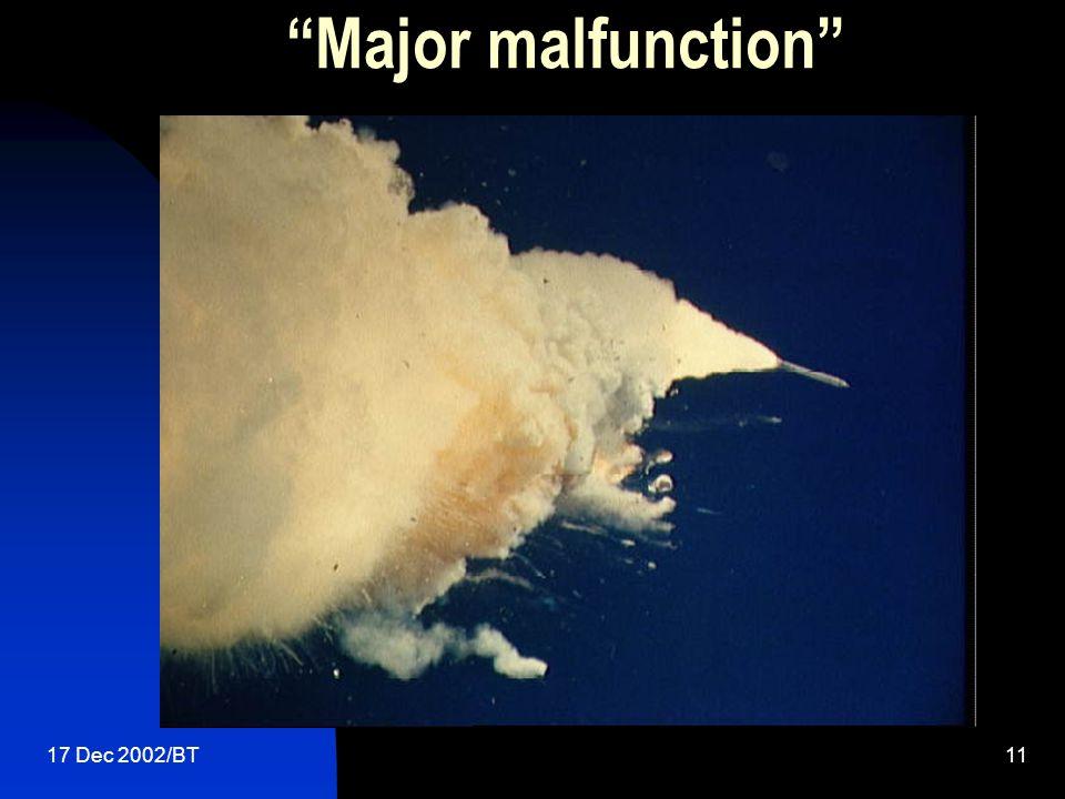 17 Dec 2002/BT11 Major malfunction
