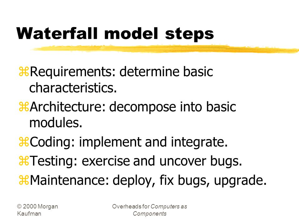 © 2000 Morgan Kaufman Overheads for Computers as Components Waterfall model steps zRequirements: determine basic characteristics.